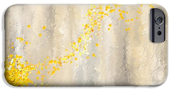 Yellow And Grey Abstract Art iPhone Cases - Yellow And Gray Landscape iPhone Case by Lourry Legarde