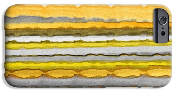 Yellow And Grey Abstract Art iPhone Cases - Yellow And Gray Stripes Art iPhone Case by Lourry Legarde