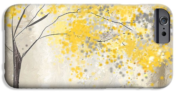 Yellow And Grey Abstract Art iPhone Cases - Yellow And Gray Tree iPhone Case by Lourry Legarde
