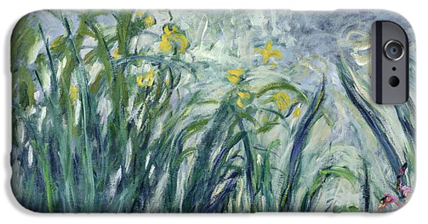 Floral Photographs iPhone Cases - Yellow And Purple Irises, 1924-25 See Detail 414407 Oil On Canvas iPhone Case by Claude Monet