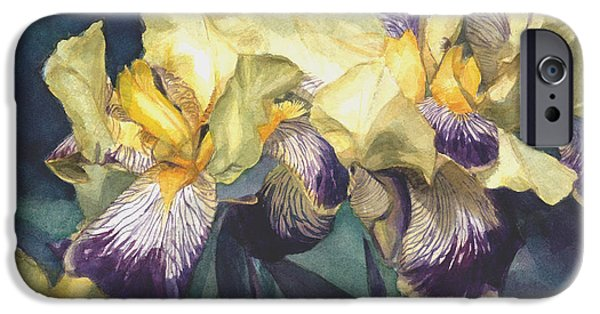 Best Sellers -  - Botanic Illustration iPhone Cases - Yellow and purple streaked irises iPhone Case by Greta Corens