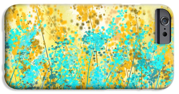 Brilliant Paintings iPhone Cases - Yellow And Turquoise Garden iPhone Case by Lourry Legarde