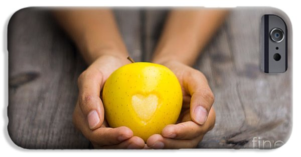 Success Photographs iPhone Cases - Yellow Apple with engraved heart iPhone Case by Aged Pixel