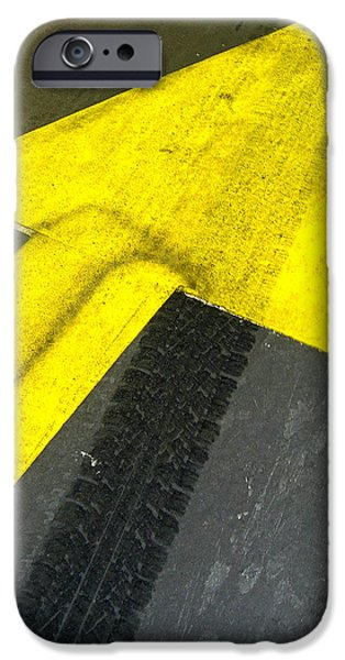 Sign iPhone Cases - Yellow Arrow Sign On Road iPhone Case by Panoramic Images