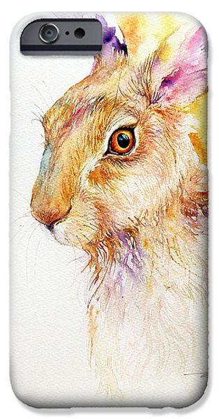 Brown Hare iPhone Cases - Yellow Aura iPhone Case by Arti Chauhan