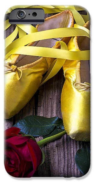 Yellow Ballet Shoes iPhone Case by Garry Gay