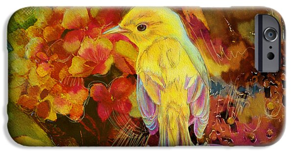 Corporate Art iPhone Cases - Yellow Bird iPhone Case by Catf
