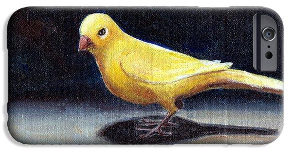 Llmartin iPhone Cases - Yellow Bird iPhone Case by Linda L Martin