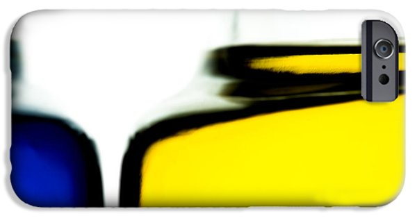 Fine Art Abstract iPhone Cases - Yellow Blue iPhone Case by Bob Orsillo