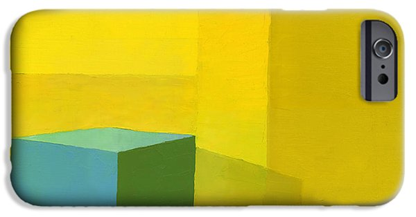 Abstractions iPhone Cases - Yellow  Blue Oil On Canvas iPhone Case by Daniel Cacouault