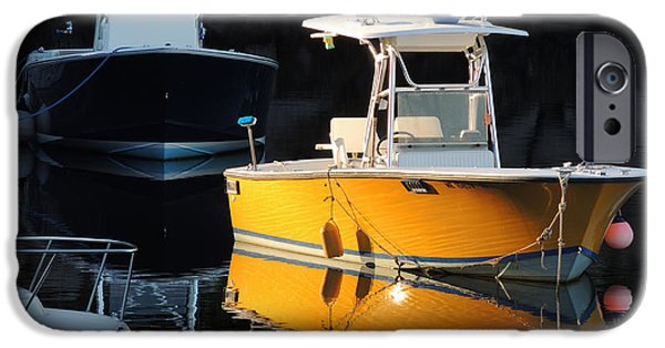 Maine iPhone Cases - Yellow Boat iPhone Case by Marcia Lee Jones