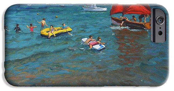 Sailboat Ocean iPhone Cases - Yellow buoy and red sails iPhone Case by Andrew Macara