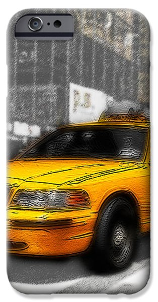 Yellow Cab at the Times Square -comic iPhone Case by Hannes Cmarits