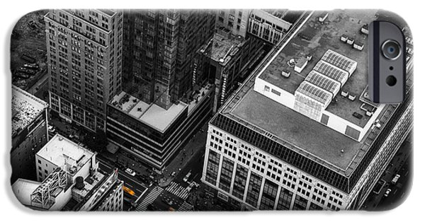 Colorkey iPhone Cases - Yellow Cabs - Birds Eye View iPhone Case by Hannes Cmarits