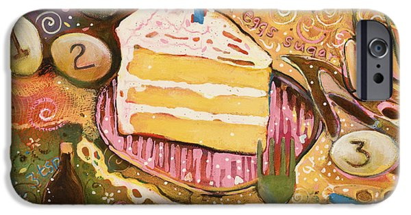 Patterned Paintings iPhone Cases - Yellow Cake Recipe iPhone Case by Jen Norton