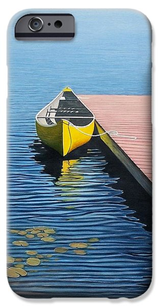 Canoe iPhone Cases - Yellow Canoe iPhone Case by Kenneth M  Kirsch