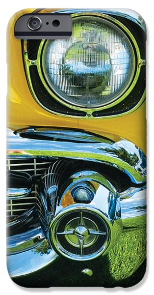 Automotive Pyrography iPhone Cases - Yellow Chevy iPhone Case by Val Miller
