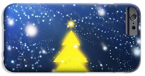 Backdrop iPhone Cases - Yellow Christmas Tree iPhone Case by Atiketta Sangasaeng