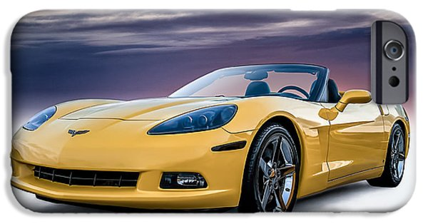 Convertible iPhone Cases - Yellow Corvette Convertible iPhone Case by Douglas Pittman