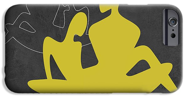 Modern Abstract iPhone Cases - Yellow Couple iPhone Case by Naxart Studio
