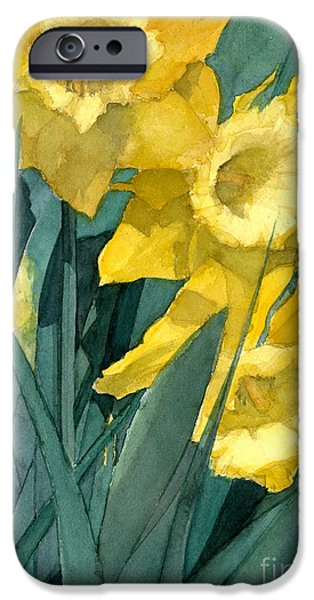Botanic Illustration iPhone Cases - Yellow daffodils iPhone Case by Greta Corens