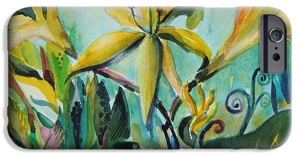 Day Lilies iPhone Cases - Yellow Day Lilies iPhone Case by Mindy Newman