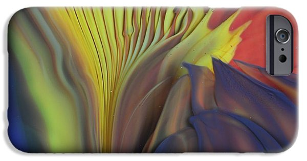 Red Abstract Glass iPhone Cases - Yellow Fan and Flower iPhone Case by Kimberly Lyon
