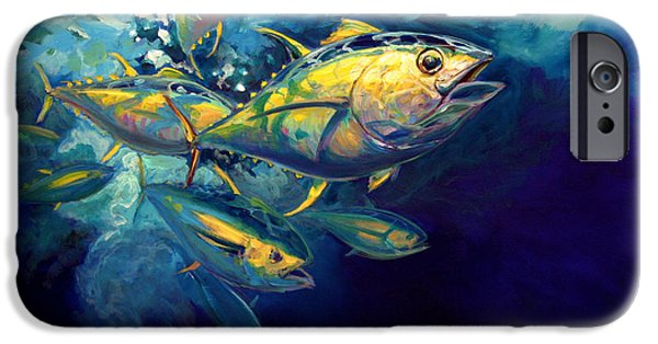 Tuna iPhone Cases - Yellow fins iPhone Case by Mike Savlen