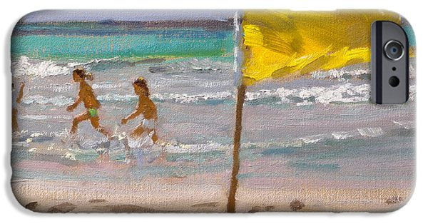 Flag Paintings iPhone Cases - Yellow Flag  Barbados iPhone Case by Andrew Macara