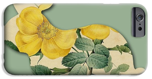 Becky Digital Art iPhone Cases - Yellow Flower Bunny iPhone Case by Becky Hayes