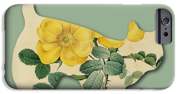 Becky Digital Art iPhone Cases - Yellow Flower Cat iPhone Case by Becky Hayes