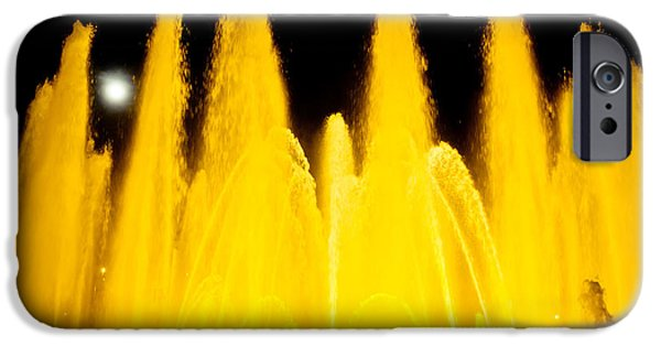 Fontain iPhone Cases - Yellow Fountain At Night iPhone Case by Raimond Klavins