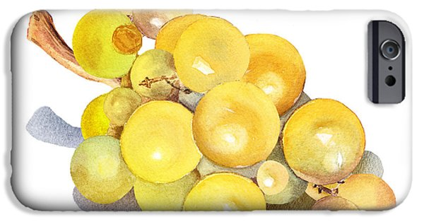 Electronic Paintings iPhone Cases - Yellow Grape iPhone Case by Irina Sztukowski