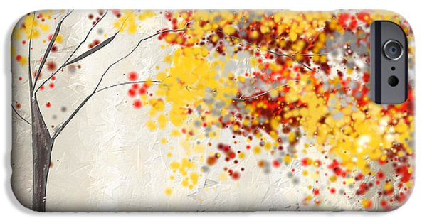 Recently Sold -  - Red Abstract iPhone Cases - Yellow Gray and Red iPhone Case by Lourry Legarde