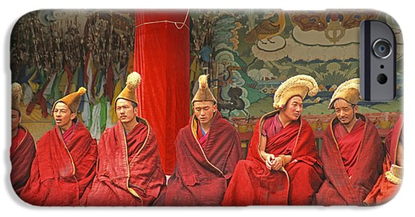 Tibetan Buddhism iPhone Cases - Yellow hat monks iPhone Case by Dennis Cox ChinaStock