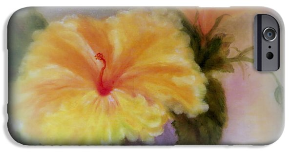 Pinks And Purple Petals Digital iPhone Cases - Yellow Hibiscus iPhone Case by Kay Novy