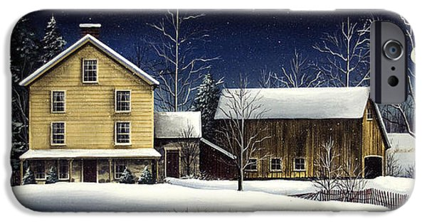 New England Snow Scene iPhone Cases - Yellow House iPhone Case by Debbi Wetzel
