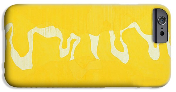 Abstracts iPhone Cases - Yellow Journey Oil On Canvas iPhone Case by Charlie Millar