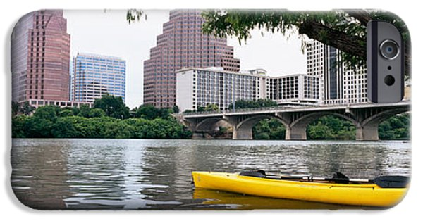 Built Structure iPhone Cases - Yellow Kayak In A Reservoir, Lady Bird iPhone Case by Panoramic Images