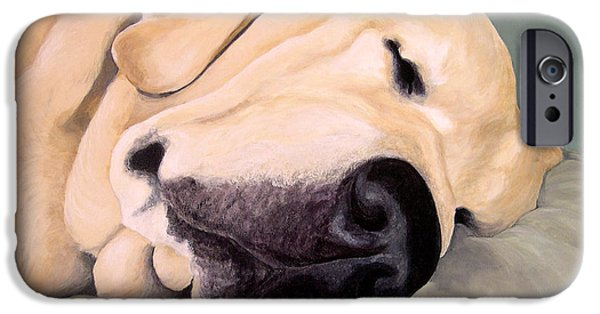 Lab Print iPhone Cases - Yellow Lab - A Head Pillow Is Nice iPhone Case by Amy Reges