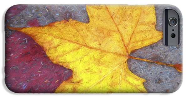 Red Leaf Digital Art iPhone Cases - Yellow Leaf Autumn iPhone Case by Carol Leigh