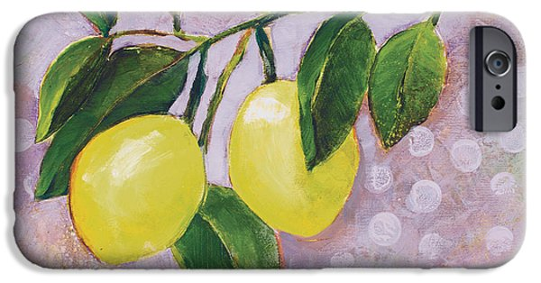 Fruit Tree Paintings iPhone Cases - Yellow Lemons on Purple Orchid iPhone Case by Jen Norton