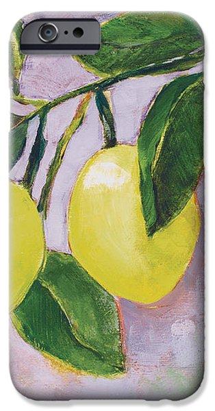 Yellow Lemons on Purple Orchid iPhone Case by Jen Norton