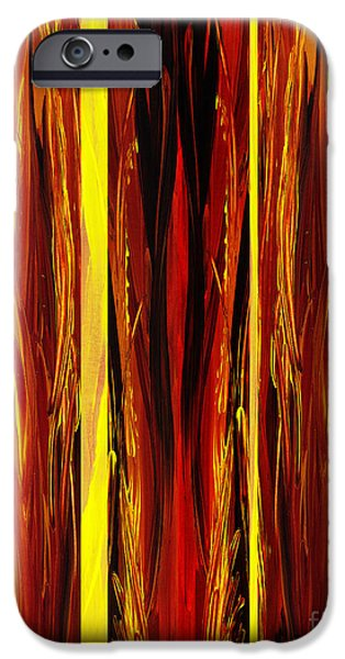 Flames Paintings iPhone Cases - Yellow Light  iPhone Case by Irina Sztukowski