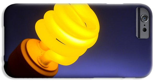 Bulb iPhone Cases - Yellow Light iPhone Case by Olivier Le Queinec