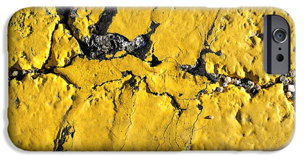 Asphalt iPhone Cases - Yellow Line Abstract iPhone Case by Luke Moore