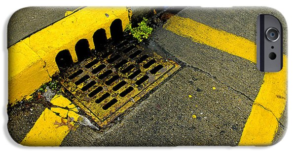Grate iPhone Cases - Yellow Lines And Sewer Grate On Street iPhone Case by Panoramic Images