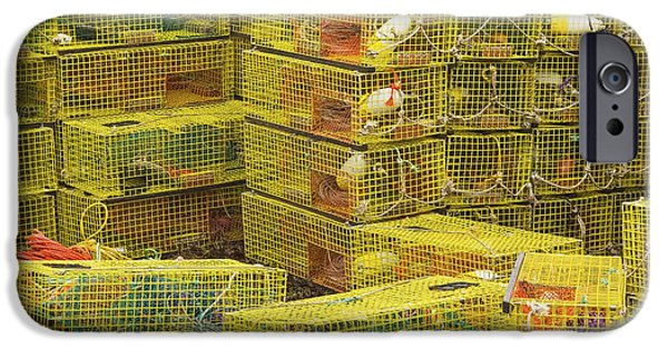Business iPhone Cases - Yellow Lobster Traps In Maine iPhone Case by Keith Webber Jr