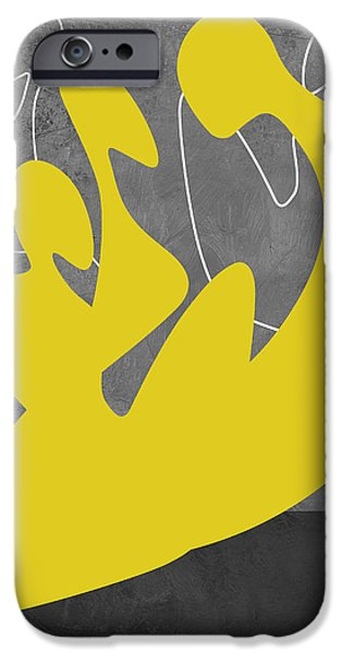 Love Making Paintings iPhone Cases - Yellow Lovers iPhone Case by Naxart Studio