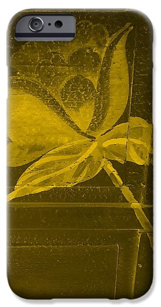 Botanic Illustration Digital Art iPhone Cases - Golden Negative Wood Flower iPhone Case by Rob Hans